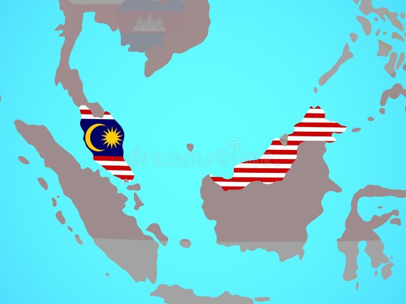 有旗子的马来西亚在地图 库存例证