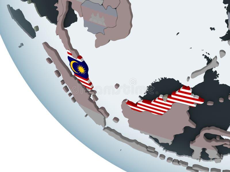 有旗子的马来西亚在地球 皇族释放例证