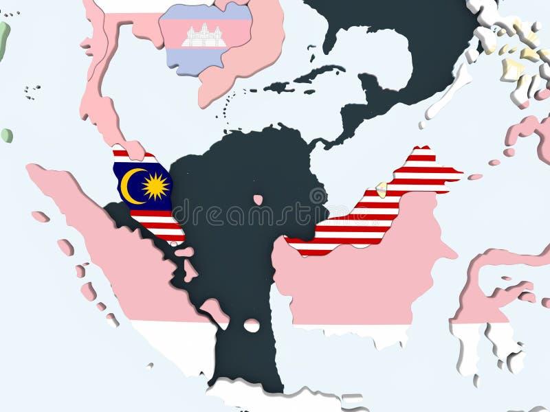 有旗子的马来西亚在地球 向量例证