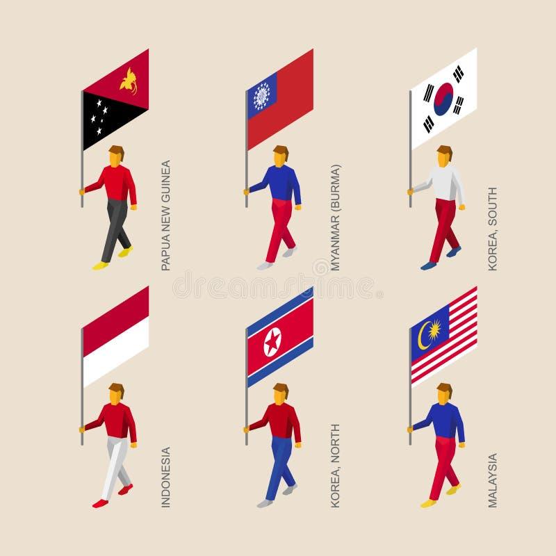 有旗子的巴布亚新几内亚,缅甸,韩国,印度尼西亚人们, 皇族释放例证