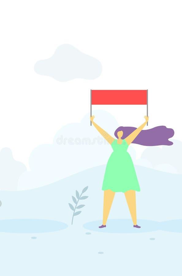 有旗子顶上的平的横幅的鼓动的妇女 库存例证