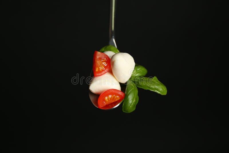 有无盐干酪乳酪球、西红柿和蓬蒿的匙子在黑背景 免版税库存图片