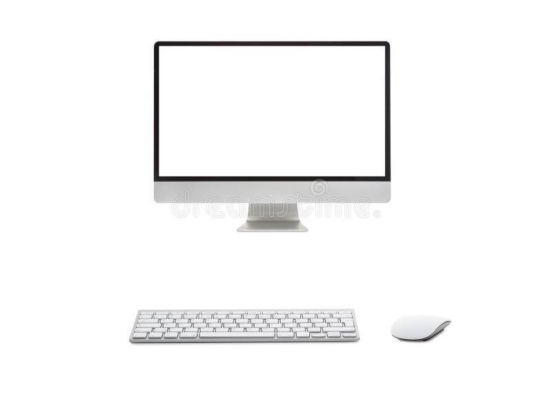 有无线键盘的台式计算机 免版税库存照片