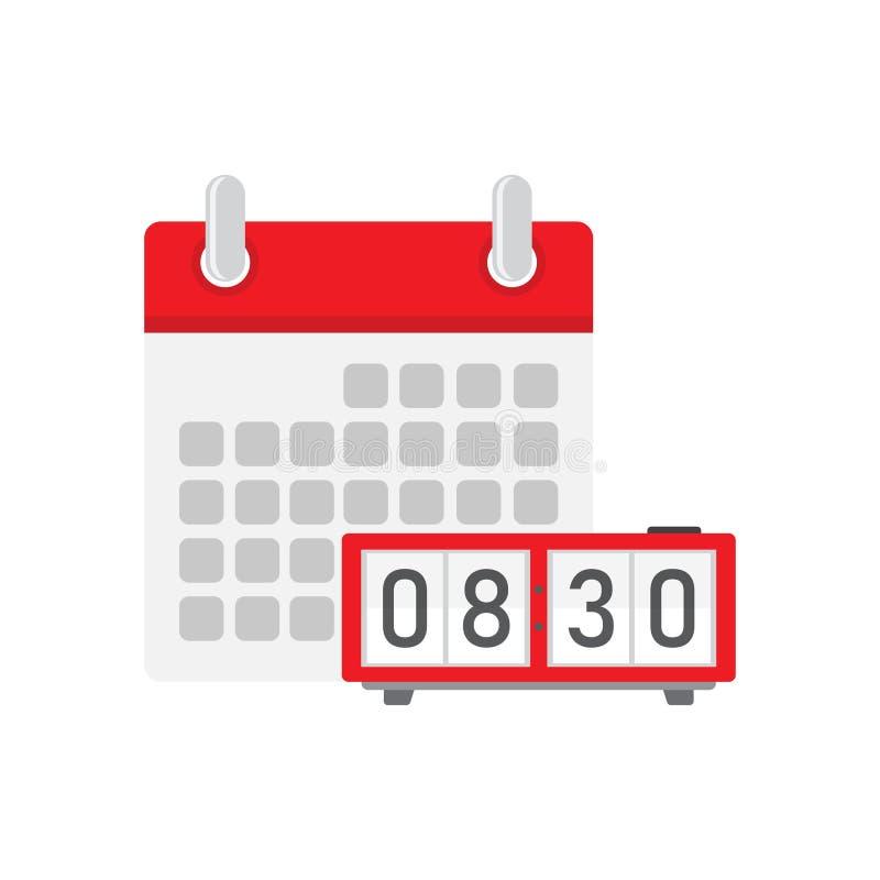 有日历的数字钟 皇族释放例证