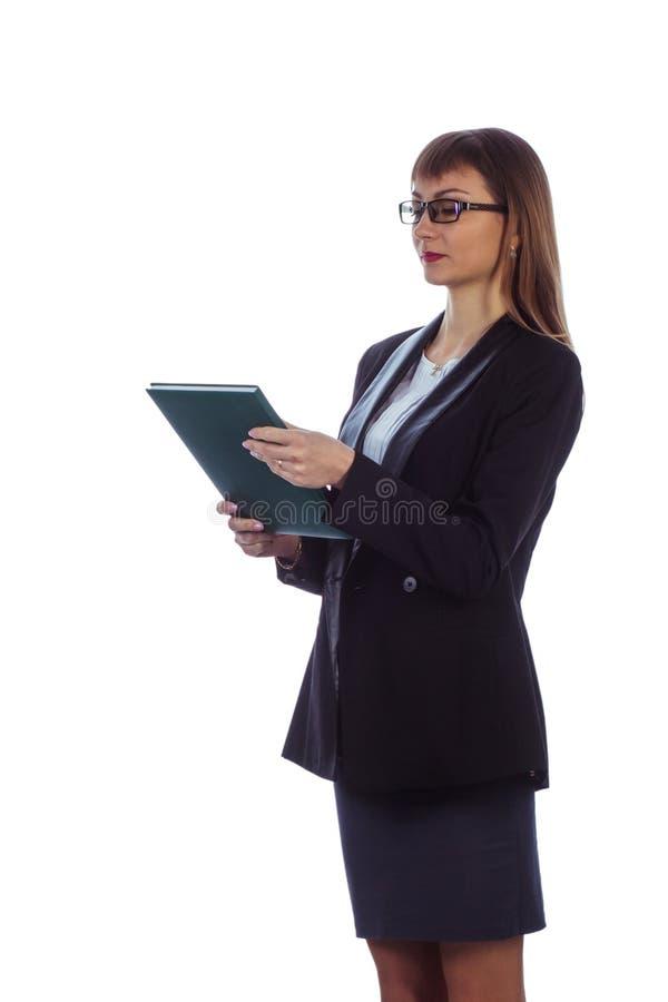 有日志的女商人 免版税库存照片