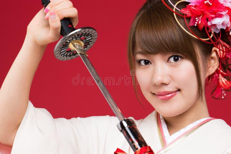 日本和服妇女 免版税库存照片
