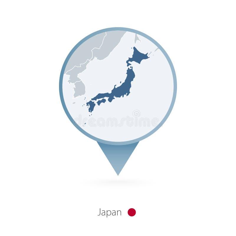 有日本和邻国详细的地图的地图别针  库存例证