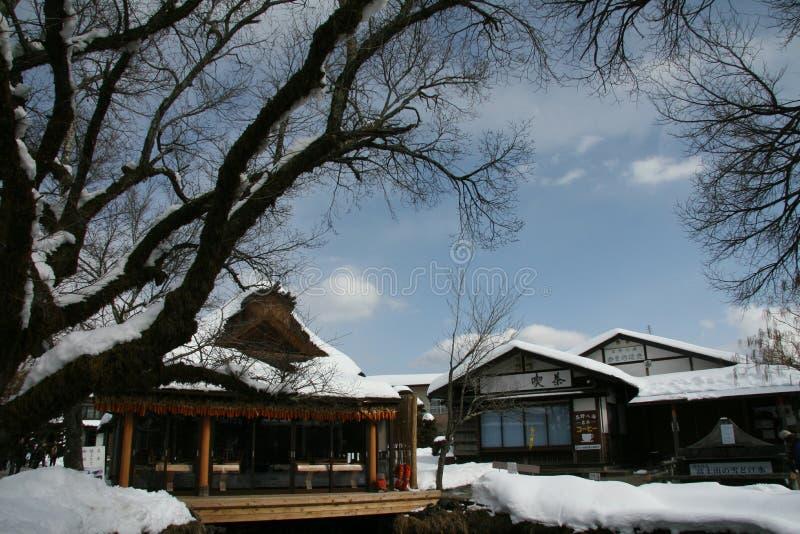 有日本特征的盖的房子 免版税库存照片