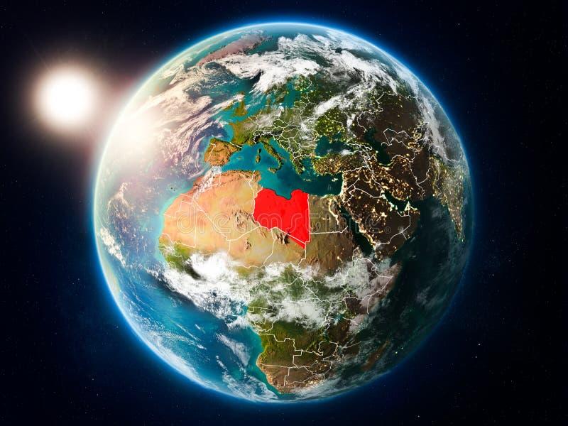 有日落的利比亚从空间 皇族释放例证