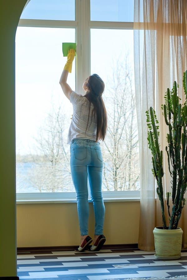有旧布清洁窗口的夫人 库存照片