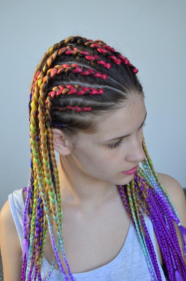 有时兴的套的一个女孩多彩多姿的辫子Kanekalon 头发色的人为子线  库存图片