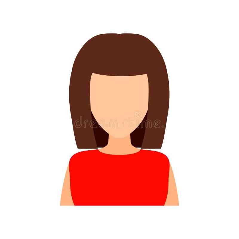 有时兴的理发的棕色毛发的女孩 传染媒介平的illust 库存例证