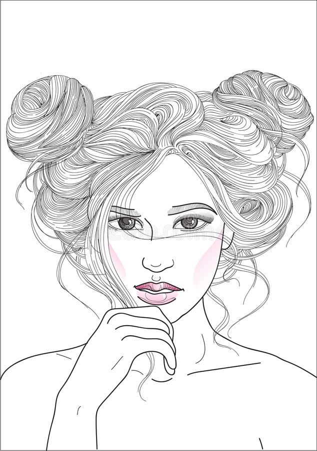 有时尚发型的美丽的女孩两条射线 向量例证