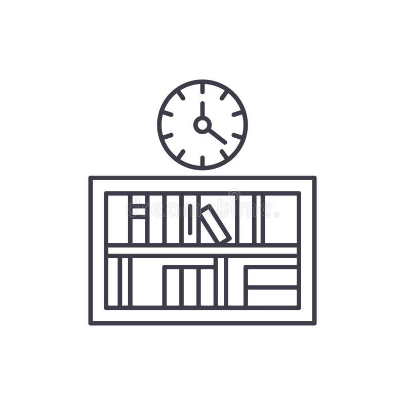 有时钟线的象概念书架 有时钟传染媒介线性例证的,标志,标志书架 皇族释放例证