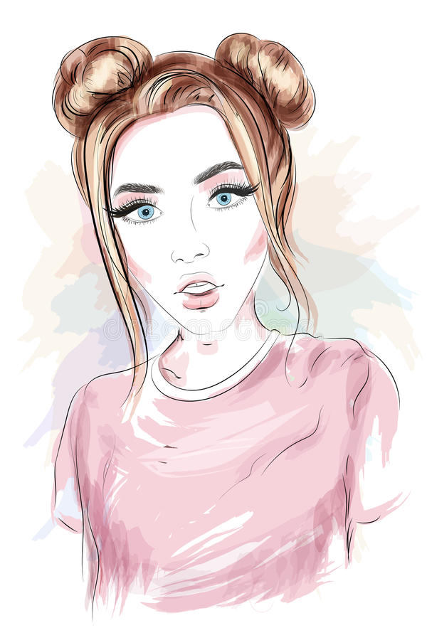 有时髦的发型的美丽的女孩 草图 库存例证