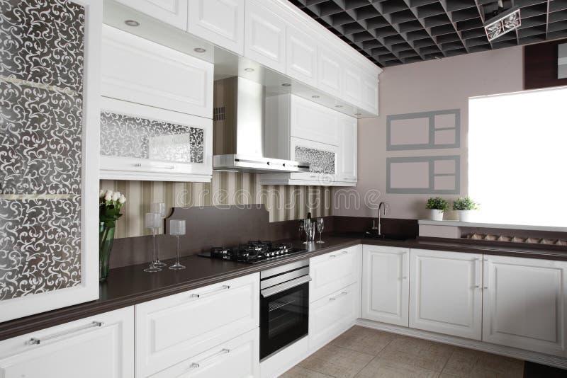 有时髦的家具的现代厨房 免版税库存照片