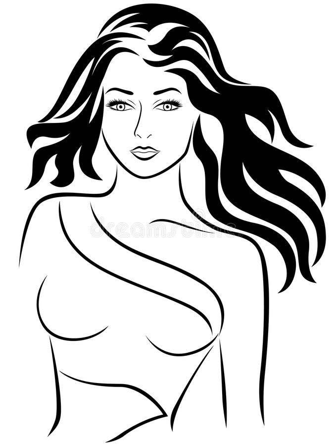 有时髦的波浪发的可爱的女孩 向量例证