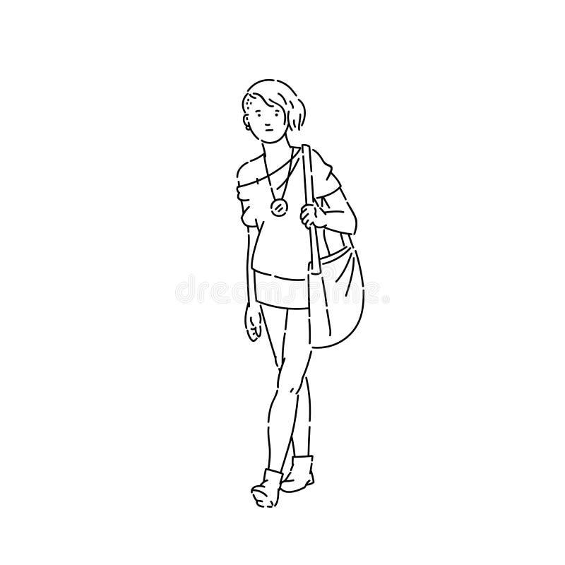 有时髦的理发和衣裳传染媒介的线艺术剪影浅黑白色被隔绝的例证青少年女孩 库存例证