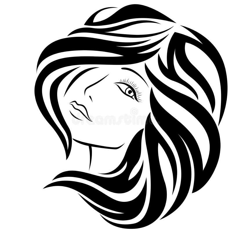 有时髦的头发的可爱的女孩 库存例证