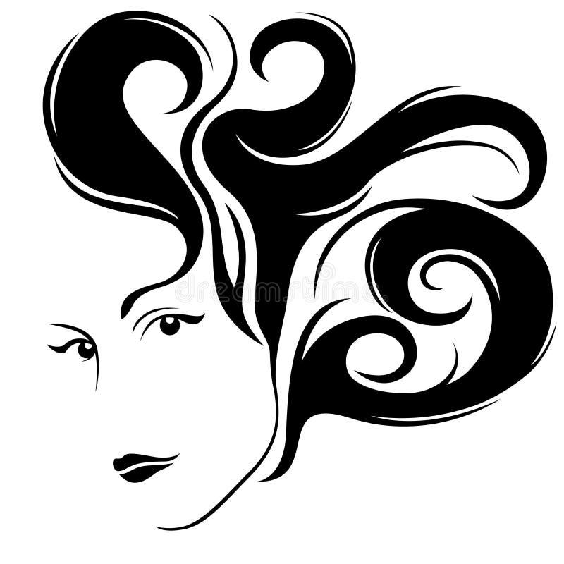 有时髦的头发的可爱的魅力女孩 皇族释放例证
