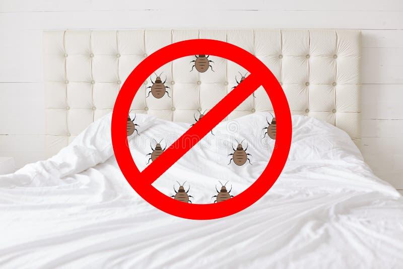 有昆虫的停车牌反对床背景 应该有所有臭虫在卧室 在洁净作证的旅馆客房和 库存图片