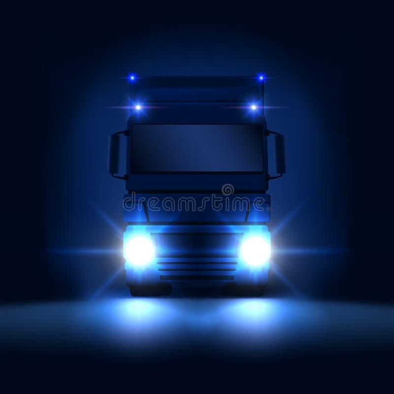 有明亮的半乘坐在黑暗的夜背景正面图,传染媒介例证的车灯和干燥搬运车的夜大半卡车 向量例证