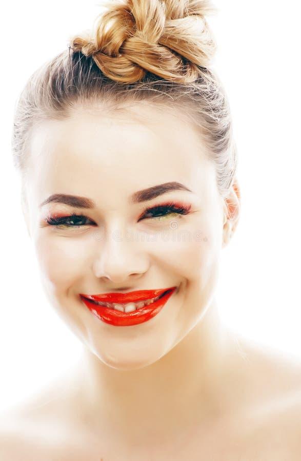 有明亮的年轻白肤金发的妇女在白色提出微笑的观点打手势情感被隔绝象玩偶鞭子,真正 库存图片