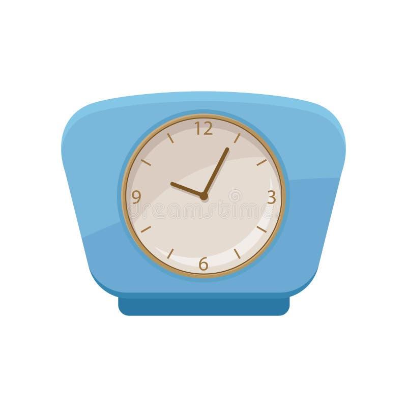 有明亮的蓝色框架和圆的拨号盘的减速火箭的时钟 家庭装饰项目 给的海报或网做广告平的传染媒介元素 向量例证