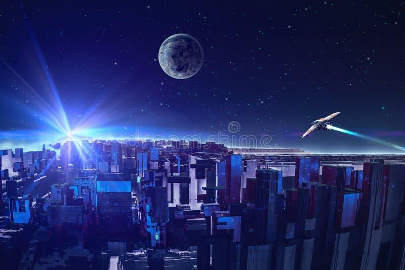 有星、行星和太空飞船的摘要分数维五颜六色的蓝色城市 现代未来城市概念 r 3d 皇族释放例证