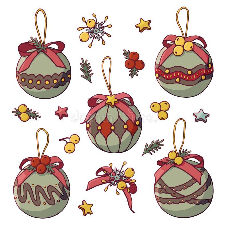有星和莓果的圣诞树玩具 向量例证
