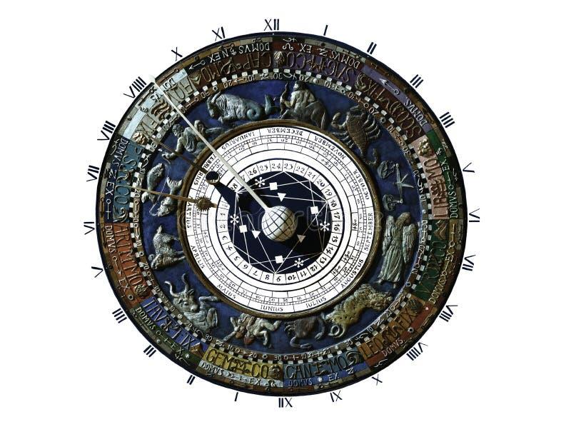 有星座地图的时钟 库存照片