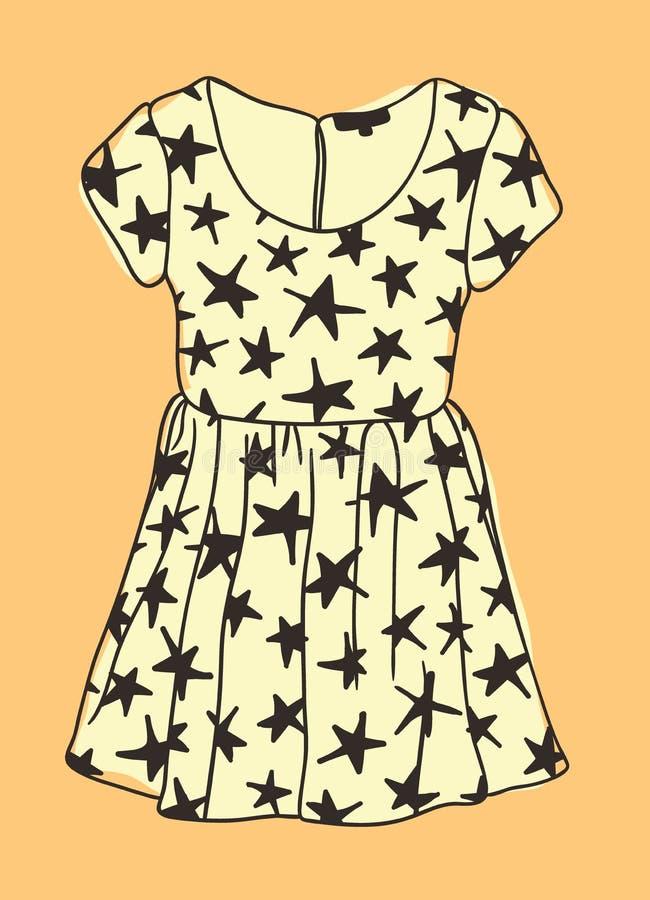 有星的手拉的例证礼服 创造性的墨水书刊上的图片 实际传染媒介图画穿戴 艺术性的被隔绝的万圣夜对象 库存例证