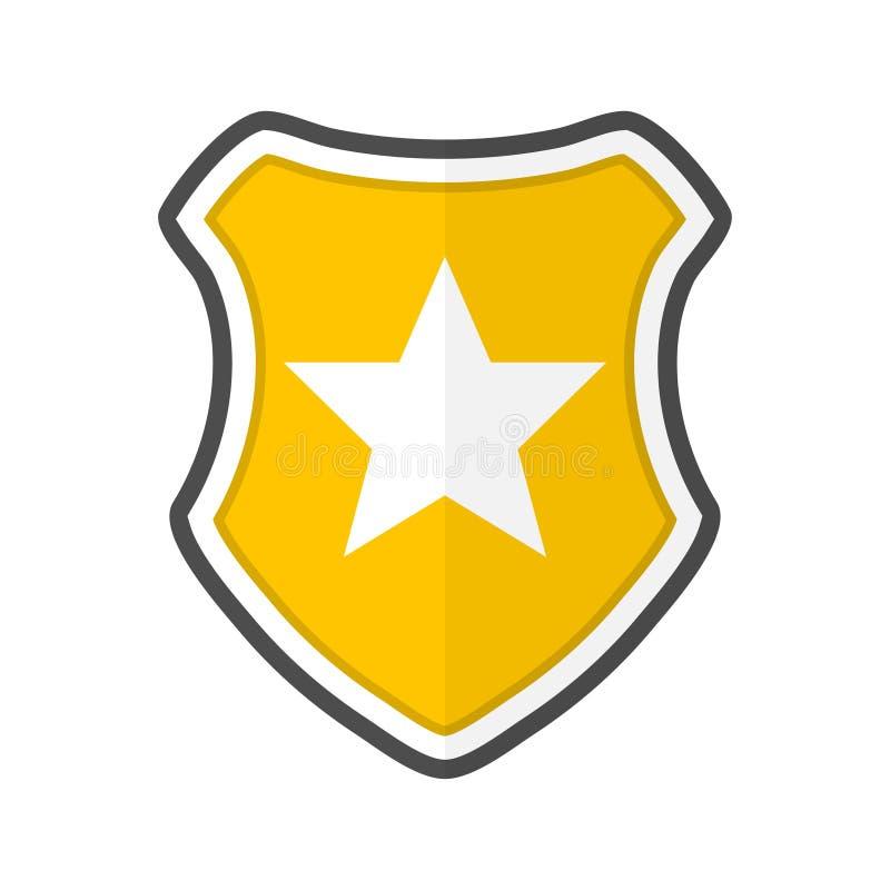 有星的盾在一个平的设计 r 皇族释放例证