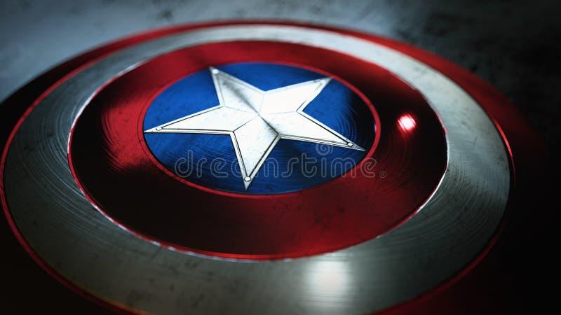 有星的盾,超级英雄盾,漫画盾 皇族释放例证