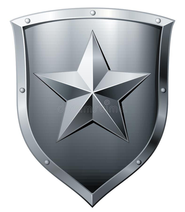 有星的金属盾 库存例证