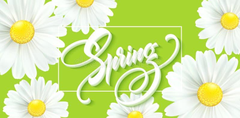 有春天花的-开花的戴西书法题字你好春天 也corel凹道例证向量 向量例证