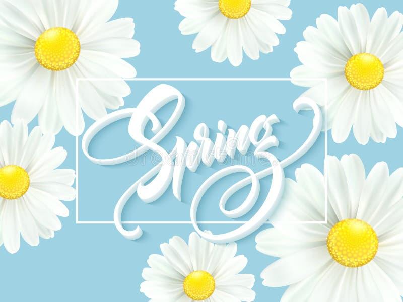有春天花的-开花的戴西书法题字你好春天 也corel凹道例证向量 库存例证