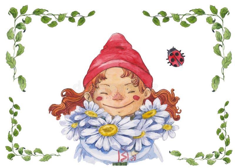 有春黄菊的水彩女孩 皇族释放例证