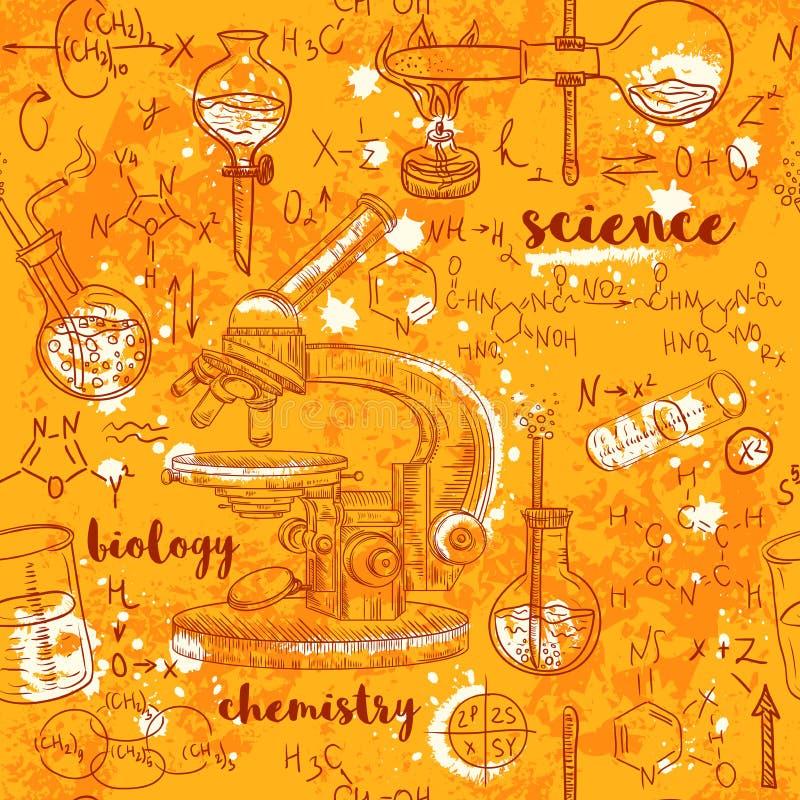 有显微镜、管和惯例的葡萄酒无缝的样式老化学实验室在年迈的纸背景 皇族释放例证