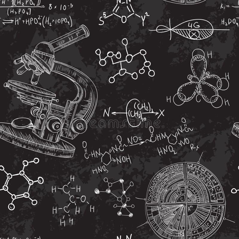 有显微镜和惯例的葡萄酒无缝的样式老化学实验室 皇族释放例证