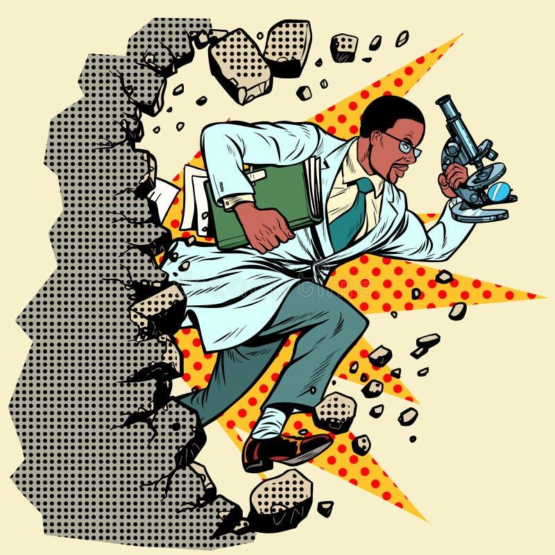 有显微镜断裂的非洲科学家墙壁,毁坏陈腔滥调 库存例证