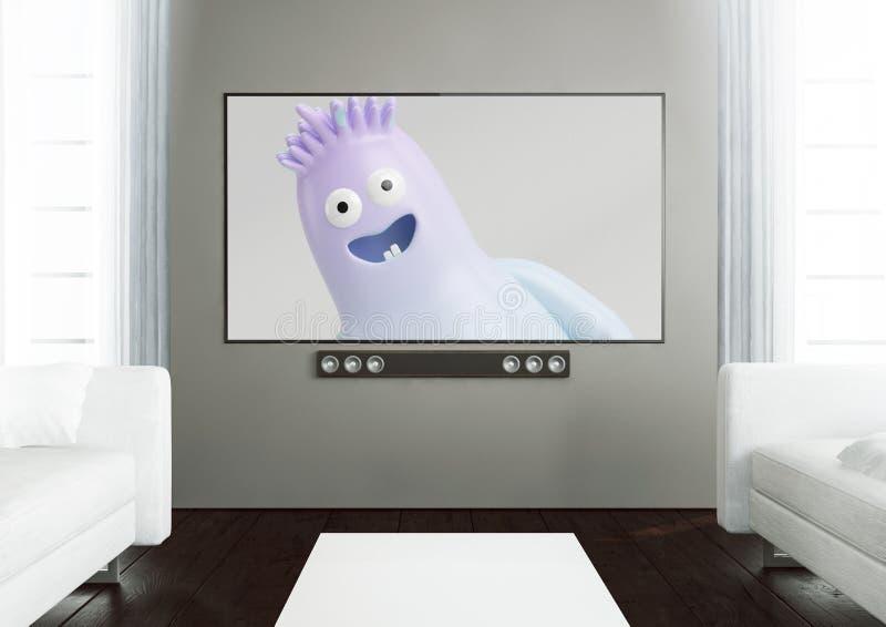 有显示动画片电影的聪明的电视的木客厅 皇族释放例证