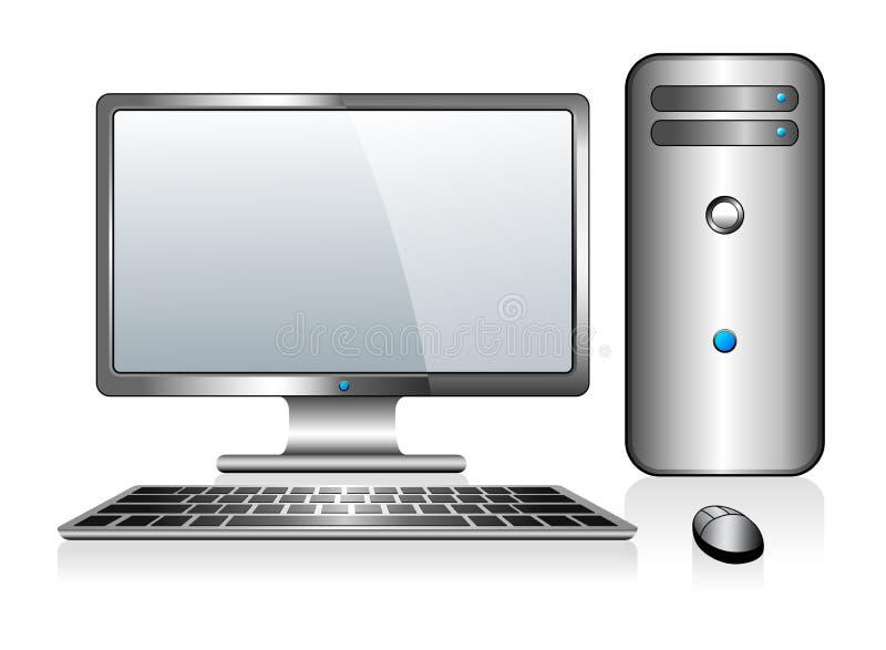 有显示器键盘和老鼠的银色计算机 皇族释放例证