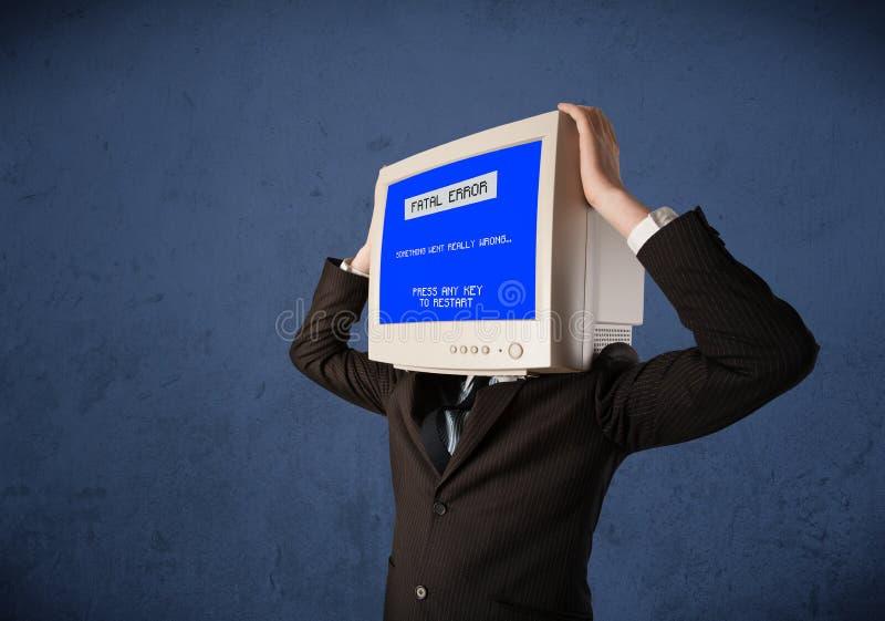 有显示器头的人 免版税图库摄影