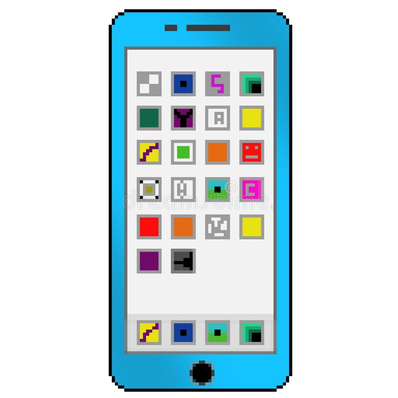 有普通应用程序的映象点8位拉长的蓝色手机在屏幕上 向量例证