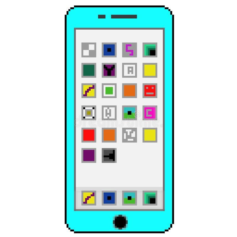有普通应用程序的映象点8位拉长的蓝色手机在屏幕上 皇族释放例证