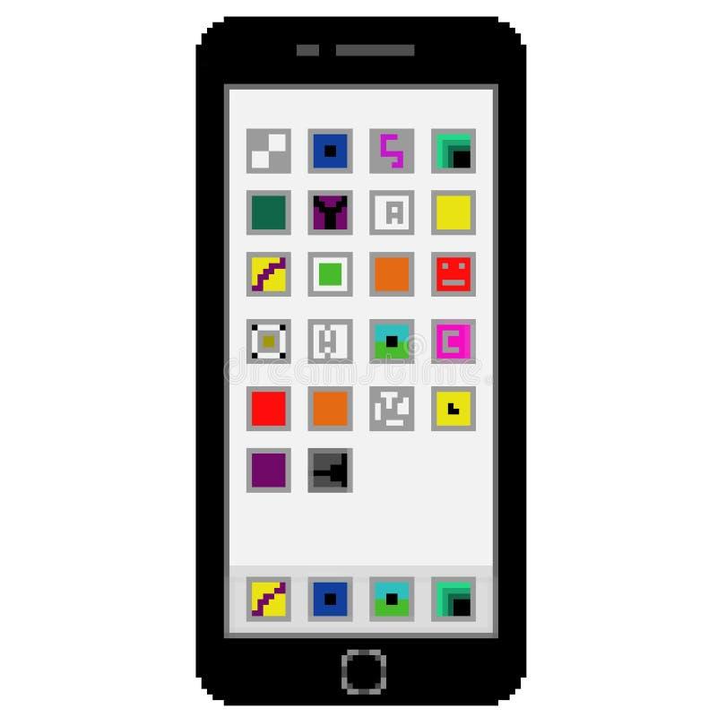 有普通应用程序的映象点8位拉长的黑手机在屏幕上 向量例证
