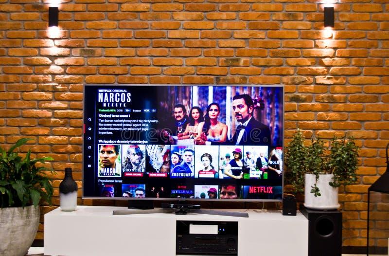 有普遍的系列选择的波兰Netflix电视屏幕 免版税图库摄影