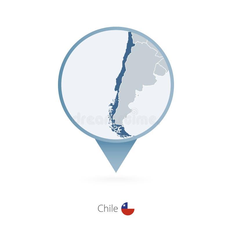 有智利和邻国详细的地图的地图别针  皇族释放例证