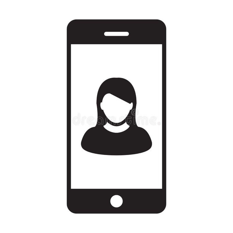 有智能手机标志的流动应用程序象传染媒介女性外形具体化在纵的沟纹图表的通信的 向量例证